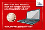 Mehrkosten für einen Laptop bei Transport mit einem umweltfreundlicheren Containerschiff