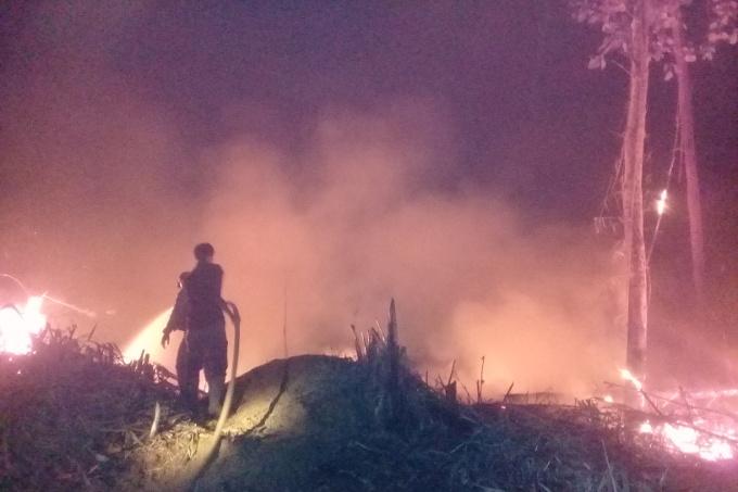 Tag und Nacht im Einsatz: Das Waldschutzteam der NABU-Projektpartner kämpft seit Wochen gegen die Flammen - Foto: Forest Protection Team Hutan Harapan