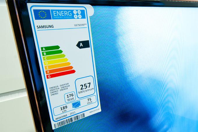 Energieverbrauchshinweis bei Fernsehgerät - Foto: NABU/Sebastian Hennigs
