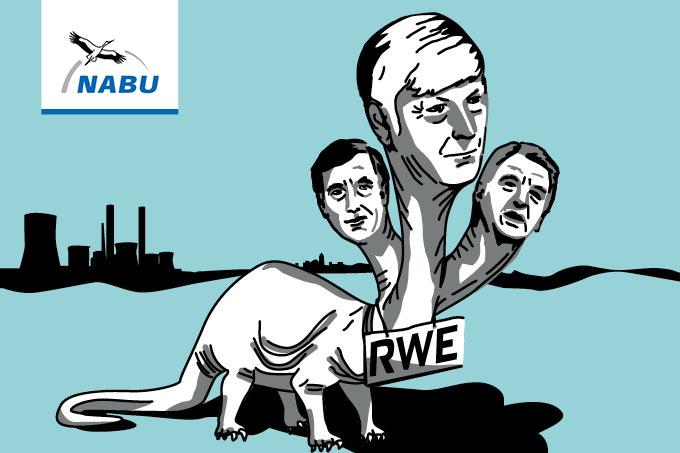 Bereits dreimal ging der Dinosaurier des Jahres an einen RWE-Vorstandsvorsitzenden. 2006 an Harry Roels, 2010 an Jürgen Großmann und nun an Rolf Martin Schmitz. – Illustration: NABU/Heide Kolling