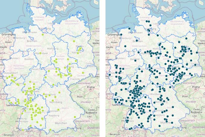 Vergleich der deutschlandweit gemeldeten Blauen Holzbienen im Juni 2018 und Juni 2021