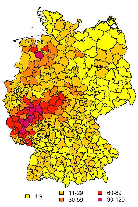 Meldungen zum Meisensterben je Landkreis pro 100.000 Einwohner, Stand 21. April 2020 - Grafik: Bernhard-Nocht-Institut für Tropenmedizin/Renke Lühken