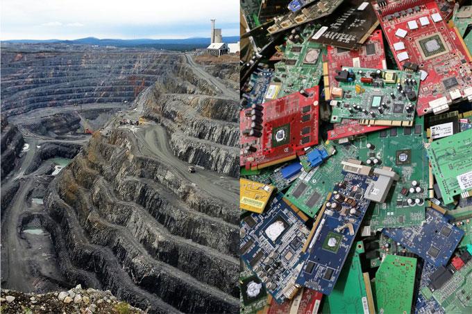Kupfermine und Elektroschrott - Foto: Pixabay/Neta623, Harald Heinritz/abfallbild.de